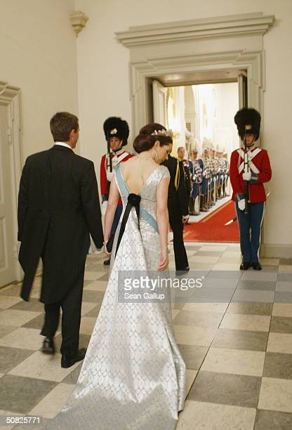 Miss Mary Elizabeth Donaldson and Crown Prince Frederik of Denmark attend a celebratory dinner at Christiansborg Palace on May 11 2004 in honor of...