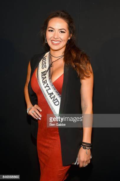 Miss Maryland USA Adrianna David attends the Zang Toi fashion show during New York Fashion Week The Shows at Gallery 3 Skylight Clarkson Sq on...