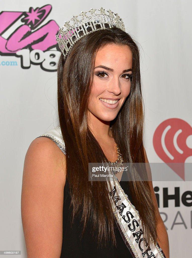 Miss Massachusetts USA Sarah Kidd poses backstage at KISS 108's Jingle Ball 2013 at TD Garden on December 14, 2013 in Boston, MA.