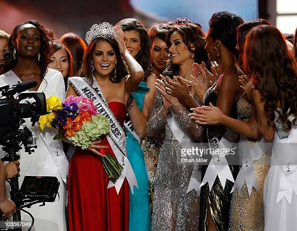 Miss Mexico 2010 Jimena Navarrete reacts with other contestants after being named the 2010 Miss Universe during the 2010 Miss Universe Pageant at the...