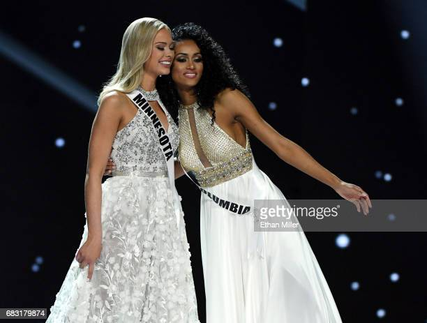 Miss Minnesota USA 2017 Meridith Gould and Miss District of Columbia USA 2017 Kara McCullough hug after they were named as top three finalists in the...