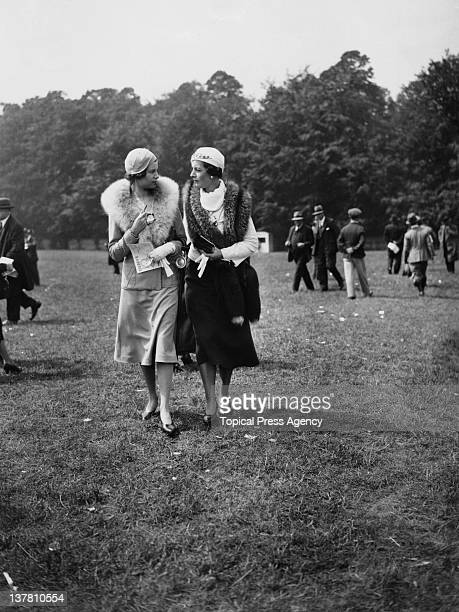 Miss Molly Wingfield and Miss Booker on Oaks Day during the Epsom Derby in Surrey 3rd June 1932