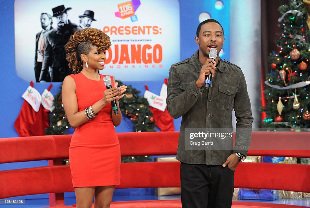 Miss Mykie and Shorty Da Prince visit BET's '106 & Park' at 106 & Park Studio on December 14, 2012 in New York City.
