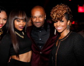 Miss Mykie Big Tigger and Paigion attend Tigger's 40th Birthday celebration at WIP on December 12 2012 in New York City