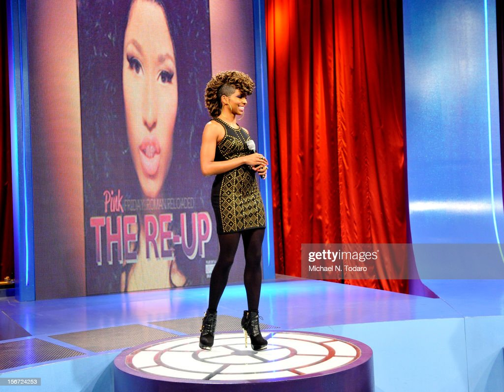 <a gi-track='captionPersonalityLinkClicked' href=/galleries/search?phrase=Miss+Mykie&family=editorial&specificpeople=9784725 ng-click='$event.stopPropagation()'>Miss Mykie</a> hosts BET's 106 & Park at 106 & Park Studio on November 19, 2012 in New York City.