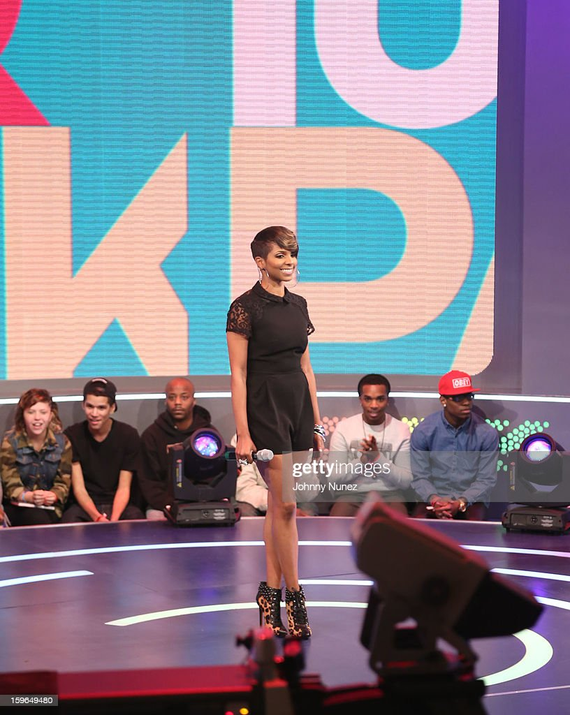 Miss Mykie hosts BET's '106 & Park' at BET Studios on January 17, 2013 in New York City.