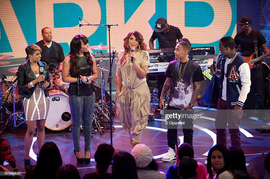 Miss Mykie, Paigion, Tamar Braxton, Bow Wow, and Shorty Da Prince visit BET's '106 & Park' at BET Studios on February 13, 2013 in New York City.