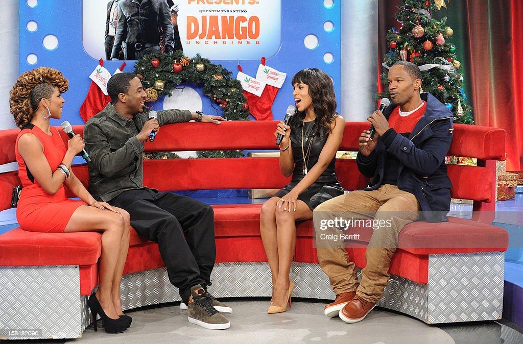 Miss Mykie, Shorty Da Prince, Kerry Washington and Jamie Foxx visit BET's '106 & Park' at 106 & Park Studio on December 14, 2012 in New York City.