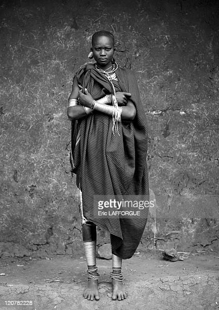 Miss Nashure in Kibbish Village Omo valley Ethiopia on July 05 2010 Surma or Suri are sedentary pastoral people living in south west of Ethiopia on...
