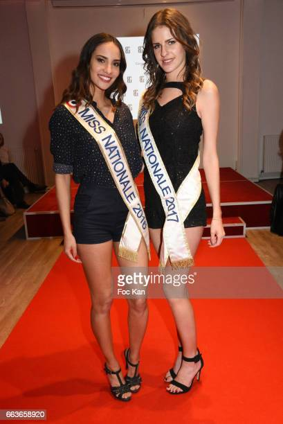 Miss Nationale 2016 Eugenie Journee and Miss Nationale 2017 Anaelle Bagot attend Georges Bedran Fashion Show at Espace Batignolles on April 1 2017 in...