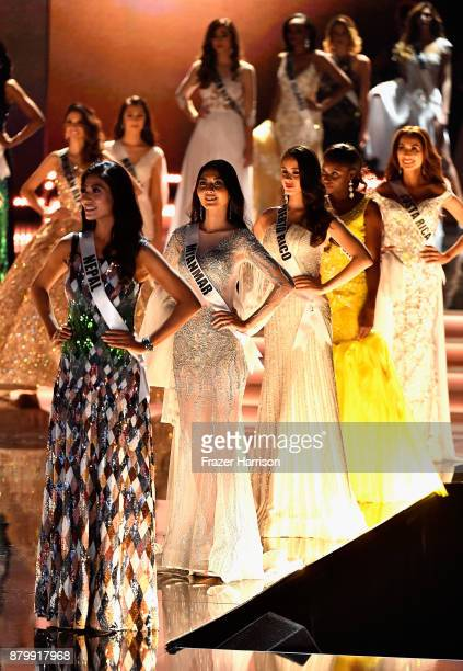 Miss Nepal 2017 Nagma Shrestha Miss Myanmar 2017 Zun Thansin Miss Puerto Rico 2017 Danna Hernandez and Miss Costa Rica 2017 Elena Correa compete in...