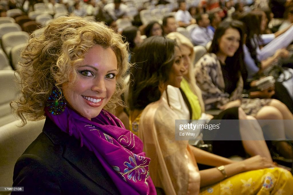 Miss Netherlands attends the opening press conference during the 2013 Miss World Pageant on September 7, 2013 in Denpasar, Bali, Indonesia. The Miss World contest has been protested by conservative Indonesian Muslim groups who object particularly to the Bikini swimwear portion of the competition which organizers have agreed to replace this year with a more modest beachwear competition including tradtional Indonesian batik sarongs.
