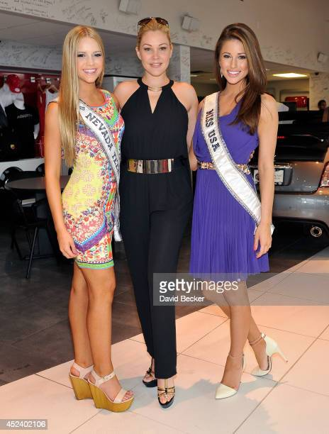 Miss Nevada Teen USA Alexa Taylor Miss Nevada USA Executive Director Shanna Moakler and Miss USA 2014 Nia Sanchez appears at an official Miss Nevada...