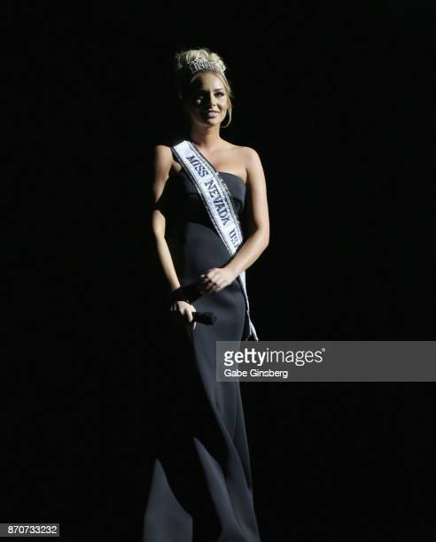 Miss Nevada USA 2017 Lauren York speaks during the Vegas Cares benefit at The Venetian Las Vegas honoring victims and first responders of last...