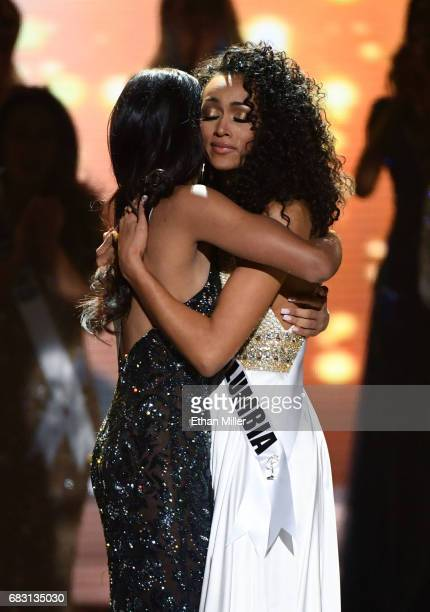 Miss New Jersey USA 2017 Chhavi Verg and Miss District of Columbia USA 2017 Kara McCullough hug after McCullough was named the new Miss USA during...