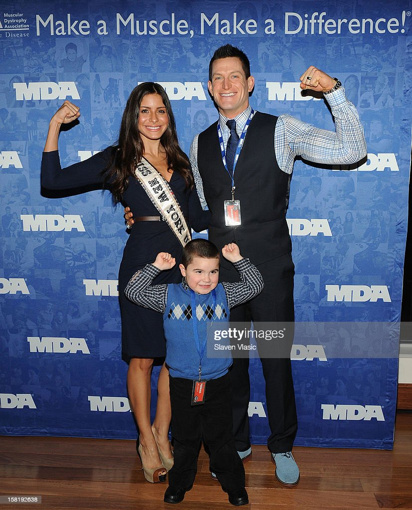 Miss New York 2012 Johanna Sambucini and NY Giants' <a gi-track='captionPersonalityLinkClicked' href=/galleries/search?phrase=Steve+Weatherford&family=editorial&specificpeople=980653 ng-click='$event.stopPropagation()'>Steve Weatherford</a> attend MDA's 2013 Muscle Team Kick Off Event at The Lighthouse at Chelsea Piers on December 10, 2012 in New York City.