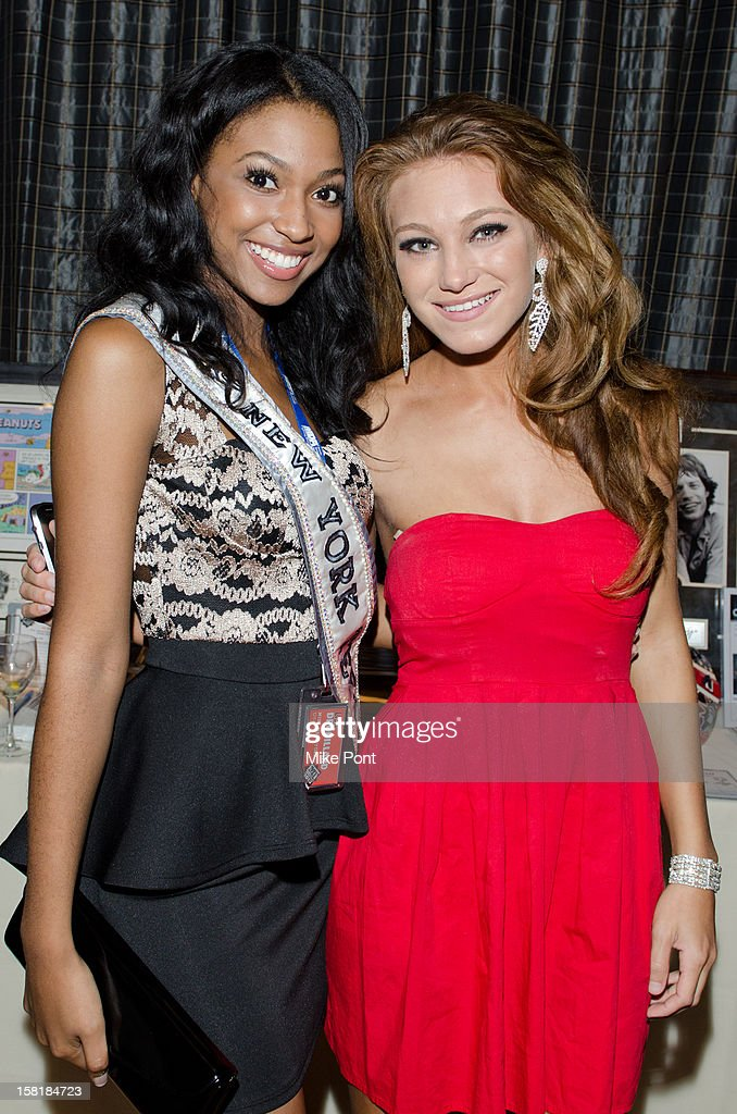 Miss New York Teen USA Lisa Drouillard (L) and April Maroshick attend MDA's 2013 Muscle Team Kick Off Event at The Lighthouse at Chelsea Piers on December 10, 2012 in New York City.