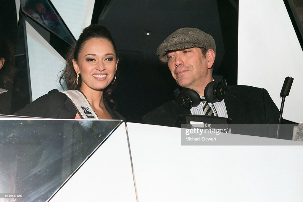 Miss New York USA 2013 Joanne Nosuchinsky (L) and DJ Steve Lewis attend the BlackBook Fashion Week celebration at Toy on February 12, 2013 in New York City.
