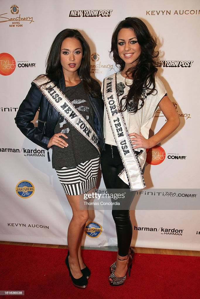 Miss New York USA Joanne Nosuchinsky Miss New York Teen USA Nikki Orlando attend Boy Meets Girl by Stacy Igel the 'Invasion Collections' Fashion Show at STYLE360 presented by Conair Fashion Pavilion on February 13, 2013 in New York City.