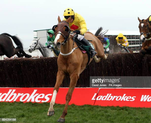 Miss Nina Carberry on Oulart during the Peter O'Sullevan National Hunt Steeple Chase Challenge Cup during the Cheltenham Festival at Cheltenham...