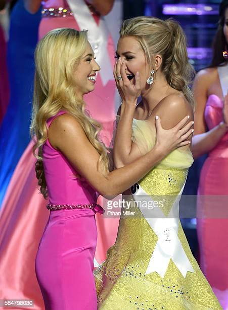 Miss North Carolina Teen USA 2016 Emily Wakeman and Miss Texas Teen USA 2016 Karlie Hay react after Hay was named Miss Teen USA 2016 during the 2016...