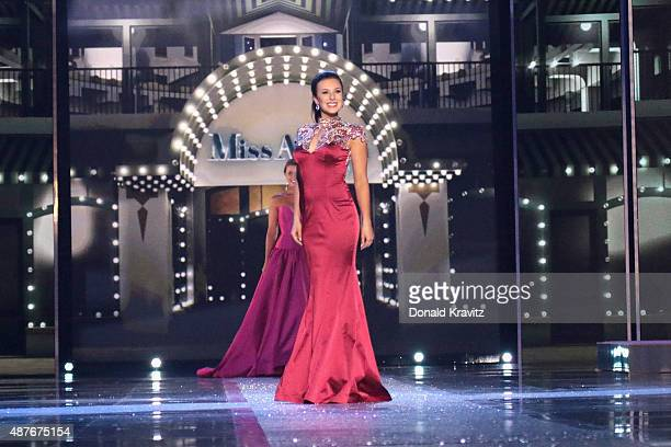 Miss North Dakota Delanie Wiedrich attends the Thursday Night Preliminaries 2016 Miss America Competition at Atlantic City Boardwalk Hall on...