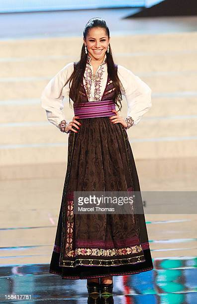 Miss Norway Sara Nicole Andersen displays her national costume at the 2012 Miss Universe National Costume event at Planet Hollywood Casino Resort on...