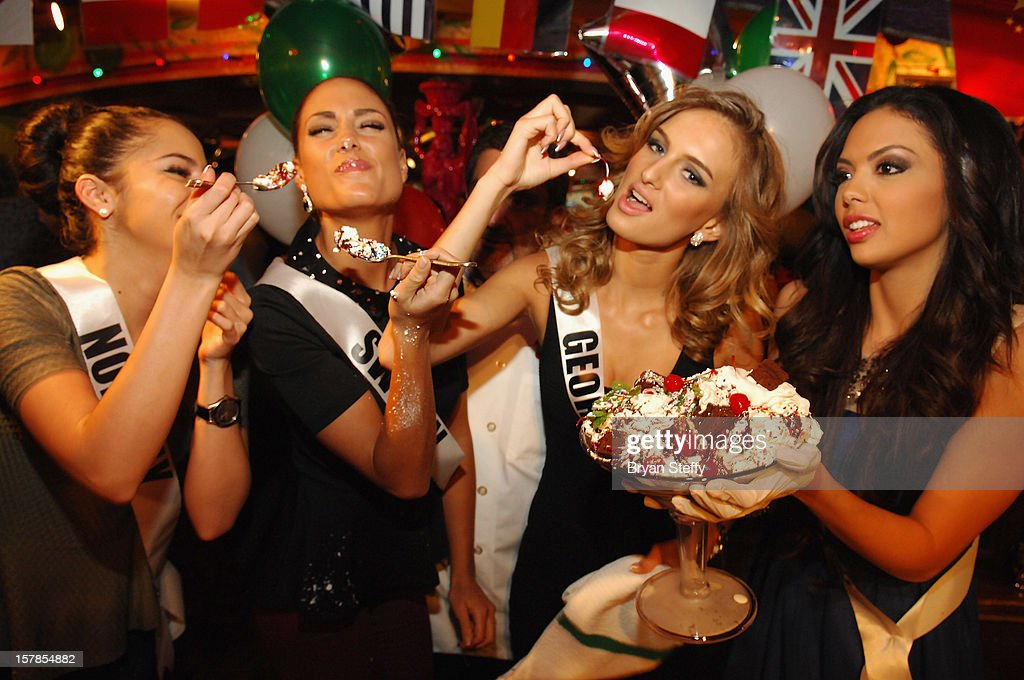Miss Norway Sara Nicole Andersen, Miss Sweden Hanni Beronius, Miss Georgia Tamar Shedania and Miss Nicaragua Farah Eslaquit appear at the Buca di Beppo Italian Restaurant on December 6, 2012 in Las Vegas, Nevada.