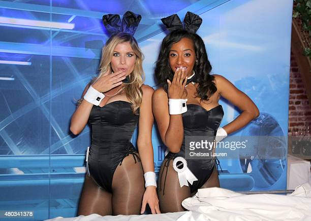 Miss October 2013 Carly Lauren and Miss July 2000 Neferteri Shepherd attend Playboy and Gramercy Pictures' Self/less party during ComicCon weekend at...