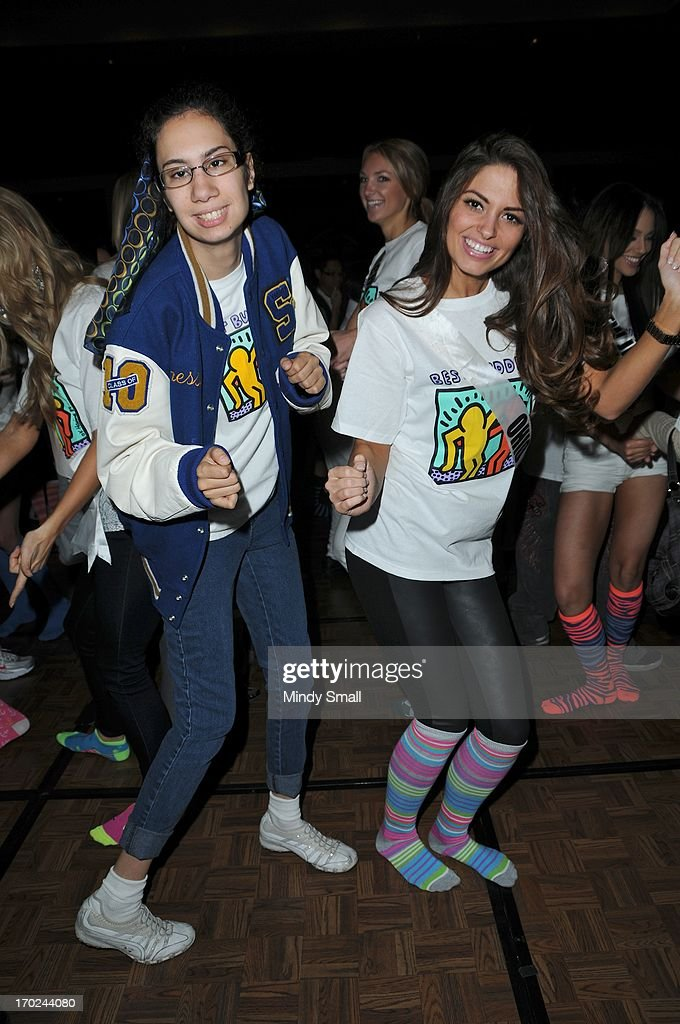 Miss Ohio USA Kristin Smith and a member of the Best Buddies organization dance during a sock hop at Planet Hollywood Resort & Casino on June 9, 2013 in Las Vegas, Nevada.