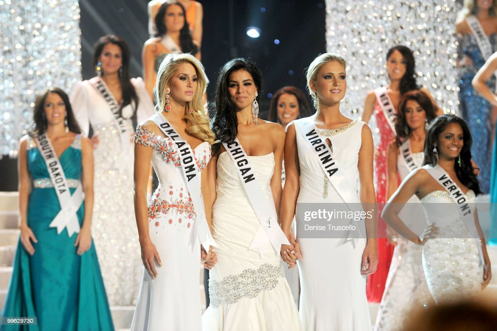 Miss Oklahoma Morgan Elizabeth Woolard, Miss Michigan Rima Fakih and Miss Virginia Samantha Casey wait for the final result at the Miss USA 2010 pageant at Planet Hollywood Casino Resort on May 16, 2010 in Las Vegas, Nevada.