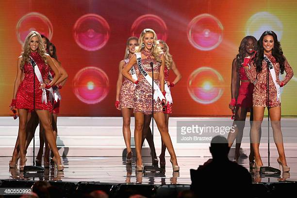 Miss Oklahoma Olivia Jordan onstage at the 2015 Miss USA Pageant Only On ReelzChannel at The Baton Rouge River Center on July 12 2015 in Baton Rouge...