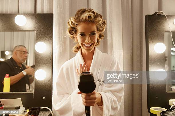 Miss Oklahoma Olivia Jordan poses backstage at 2015 Miss USA Pageant Only On ReelzChannel at The Baton Rouge River Center on July 12 2015 in Baton...