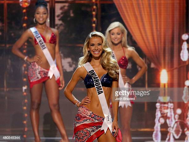 Miss Oklahoma Olivia Jordan poses onstage at the 2015 Miss USA Pageant Only On ReelzChannel at The Baton Rouge River Center on July 12 2015 in Baton...