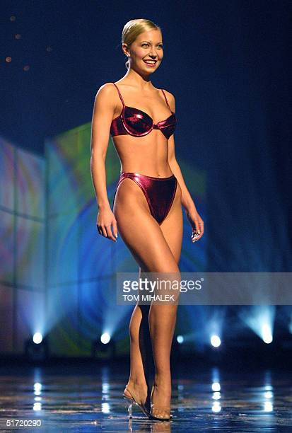 Miss Oregon Katie Harman poses during the swimsuit portion of the Miss America Pageant 22 September 2001 in Atlantic City NJ She was named Miss...