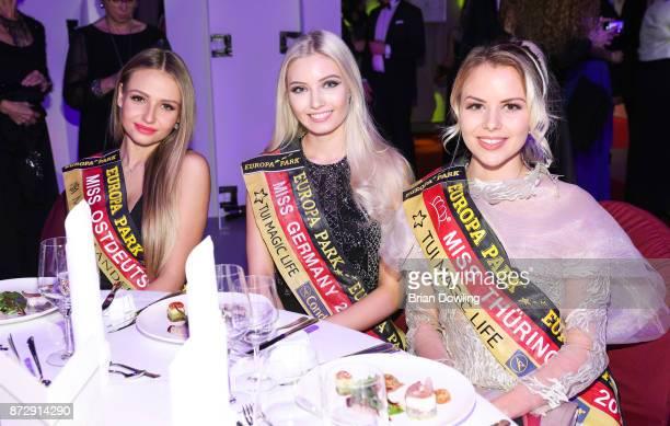 Miss Ostdeutschland 2017 Patrycja Kupka Miss Germany 2017 Soraya Kohlmann and Miss Thuringen 2017 Victoria Selivanov attends the TULIP Gala 2017 at...