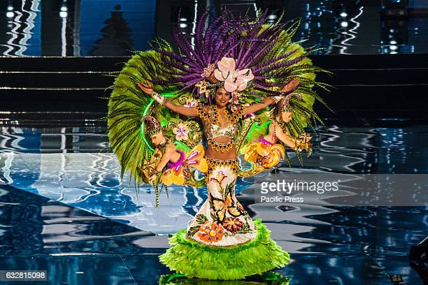 Miss Panama shows off her national costume at the Arena in Pasay City Candidates from different countries showed off their national costumes during...