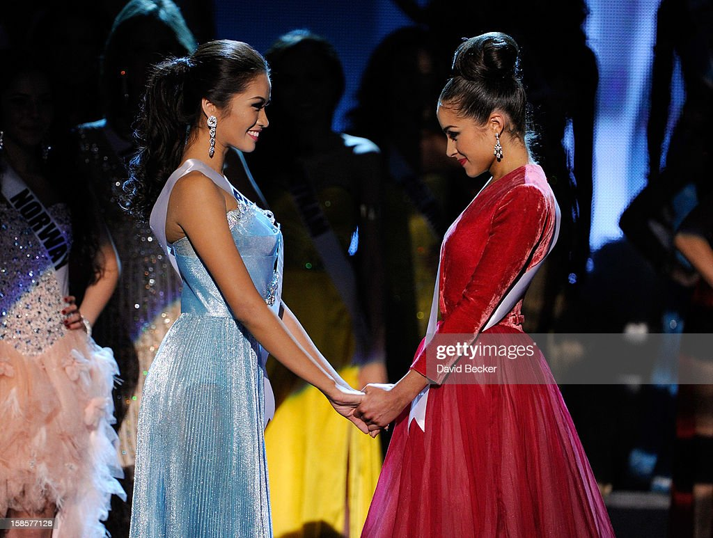 Miss Philippines 2012, Janine Tugonon (L), and Miss USA 2012, Olivia Culpo, wait for the judges' final decision during the 2012 Miss Universe Pageant at PH Live at Planet Hollywood Resort & Casino on December 19, 2012 in Las Vegas, Nevada. Culpo went on to be crowned the new Miss Universe and Tugonon was the first runner-up.