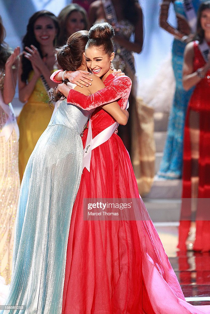 Miss Philippines 2012 Janine Tugonon (L) and Miss USA 2012 Olivia Culpo (R) and react during the 2012 Miss Universe Pageant at Planet Hollywood Resort & Casino on December 19, 2012 in Las Vegas, Nevada.