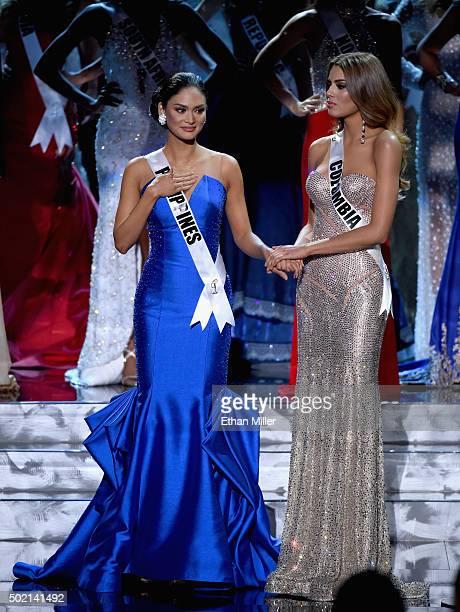 Miss Philippines 2015 Pia Alonzo Wurtzbach and Miss Colombia 2015 Ariadna Gutierrez Arevalo wait to hear the judges' esults of the 2015 Miss Universe...