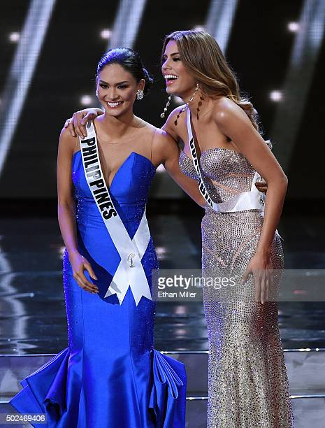 Miss Philippines 2015 Pia Alonzo Wurtzbach and Miss Colombia 2015 Ariadna Gutierrez Arevalo react after being named top five finalists during the...