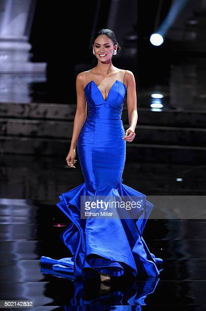 Miss Philippines 2015 Pia Alonzo Wurtzbach competes in the evening gown competition during the 2015 Miss Universe Pageant at The Axis at Planet...