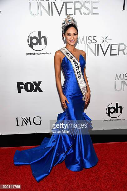 Miss Philippines 2015 Pia Alonzo Wurtzbach poses for photos after winning the 2015 Miss Universe Pageant at Planet Hollywood Resort Casino on...