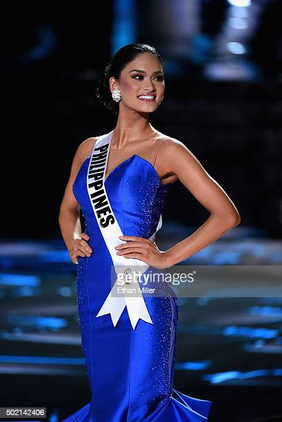 Miss Philippines 2015 Pia Alonzo Wurtzbach stands onstage during the 2015 Miss Universe Pageant at The Axis at Planet Hollywood Resort Casino on...