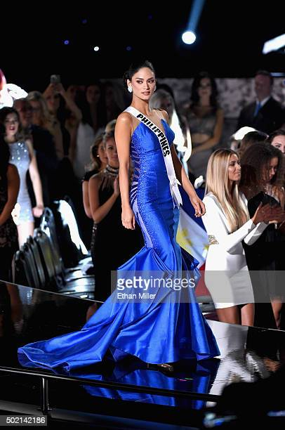 Miss Philippines 2015 Pia Alonzo Wurtzbach walks onstage during the 2015 Miss Universe Pageant at The Axis at Planet Hollywood Resort Casino on...