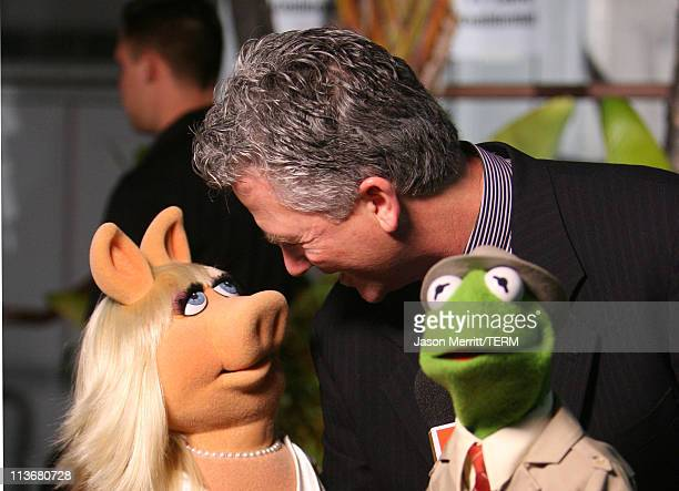 Miss Piggy Patrick Duffy and Kermit the Frog during 2006 TV Land Awards Backstage and Audience at Barker Hangar in Santa Monica California United...