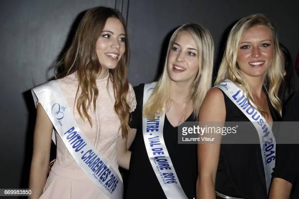 Miss PoitouCharente 2016 Magdalene Chollet Miss Centre Valde Loir 2016 Cassandre Joris and Miss Limousin 2016 Romane Komar attend Miss France 2017...