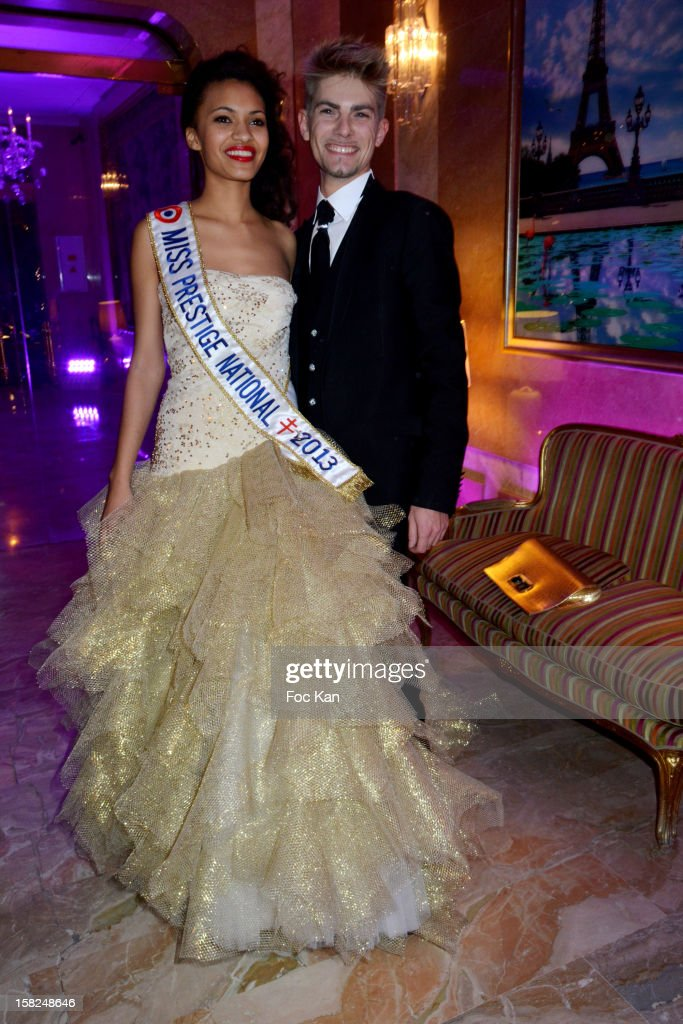 Miss Prestige National 2013 Auline Grac and designer Benoit Witkosky attend the The Bests Awards 2012 Ceremony at the Salons Hoche on December 11, 2012 in Paris, France.