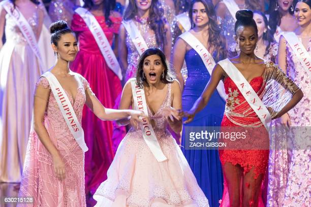 TOPSHOT Miss Puerto Rico Stephanie Del Valle reacts after winning in the Grand Final of the Miss World 2016 pageant at the MGM National Harbor...
