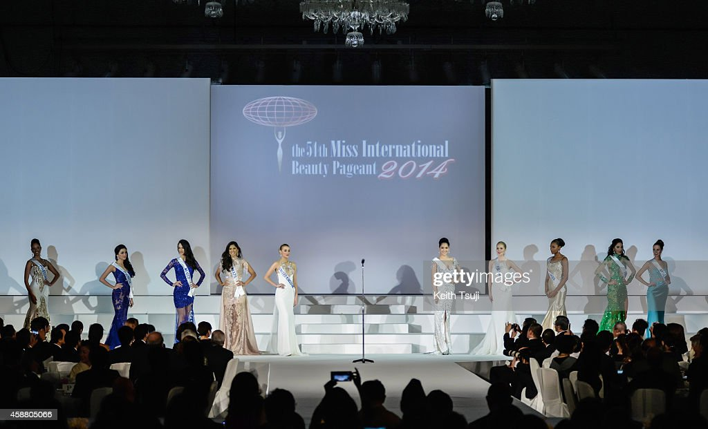 Miss Puerto Rico Valerie Hernandez Matias, Miss Indonesia <a gi-track='captionPersonalityLinkClicked' href=/galleries/search?phrase=Elfin+Pertiwi+Rappa&family=editorial&specificpeople=13719202 ng-click='$event.stopPropagation()'>Elfin Pertiwi Rappa</a>, Miss Mexico Vianey Vazquez, Miss Brazil Deise Benicio, Miss United Kingdom Victoria Charlotte Tooby, Miss Thailand <a gi-track='captionPersonalityLinkClicked' href=/galleries/search?phrase=Punika+Kulsoontornrut&family=editorial&specificpeople=13699446 ng-click='$event.stopPropagation()'>Punika Kulsoontornrut</a>, Miss Finland <a gi-track='captionPersonalityLinkClicked' href=/galleries/search?phrase=Milla+Romppanen&family=editorial&specificpeople=13719019 ng-click='$event.stopPropagation()'>Milla Romppanen</a>, Miss Columbia Zuleika Suarez, Miss Panama <a gi-track='captionPersonalityLinkClicked' href=/galleries/search?phrase=Aileen+Bernal&family=editorial&specificpeople=13719209 ng-click='$event.stopPropagation()'>Aileen Bernal</a> and Miss Argentina <a gi-track='captionPersonalityLinkClicked' href=/galleries/search?phrase=Josefina+Herrero&family=editorial&specificpeople=13719210 ng-click='$event.stopPropagation()'>Josefina Herrero</a> appear on stage after being named top ten finalists during The 54th Miss International Beauty Pageant 2014 at Grand Prince Hotel New Takanawa on November 11, 2014 in Tokyo, Japan.